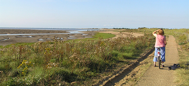 Woman-cycling-on-Snettisham-Beach-Norfolk-holiday-homes